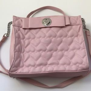 Betsy Johnson quilted bow leather shoulder…